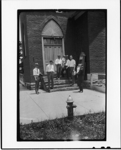 Tennessee v. John T. Scopes Trial: Group on steps of Dayton Methodist Episcopal Church (North), Dayton, Tennessee. | by Smithsonian Institution