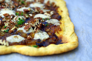 Pizza with Caramelized Onions, Gorgonzola and Pecans | by sassyradish
