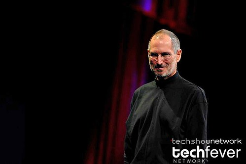 Apple CEO Steve Jobs showing the new Apple Macbook Air laptop series during his keynote address at Macworld 2008 | by TechShowNetwork