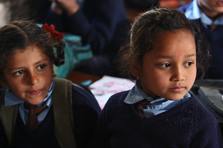 Two young girls at Shreeshitalacom Lower Secondary School. Kaski, Nepal. | by World Bank Photo Collection