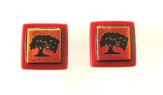 Etched Oak Tree on Red Dichroic Glass Knob or Glass Tile | by UNEEK GLASS FUSIONS