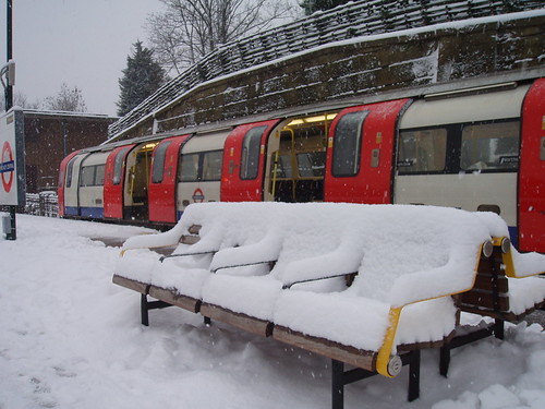 Finchley Central Station in the Snow