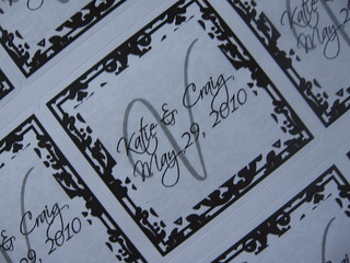 White/Black Damask Favor Tag Sticker Label | by Weddings*n*Whimsy