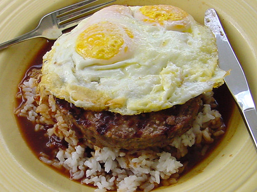 Loco Moco Hawaii white rice, topped with a hamburger patty, a fried egg, and brown gravy | by MyLastBite