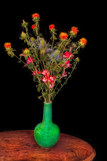 Flowers in a Green Vase