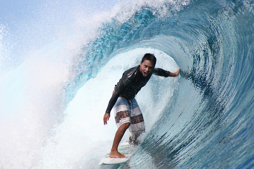 Dennis Tihara is having the best time surfing at Teahupoo, Tahiti. | by cookiesound