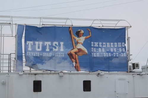 Floating on the River Neva, a strip club called 'Tutsi'