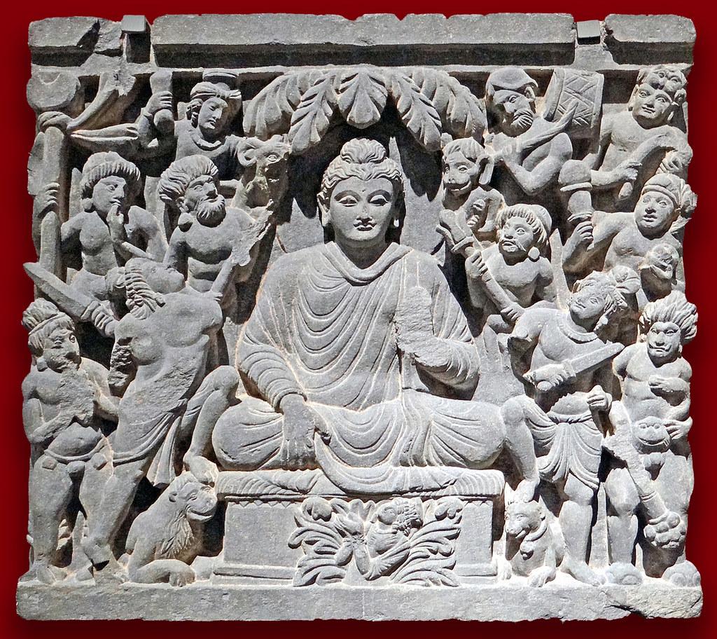 Bouddha pendant l'épisode de l'attaque de Mâra au musée d'art asiatique de Dahlem, Berlin.