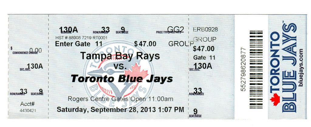 Toronto Blue Jays Ticket (9/28/2013)