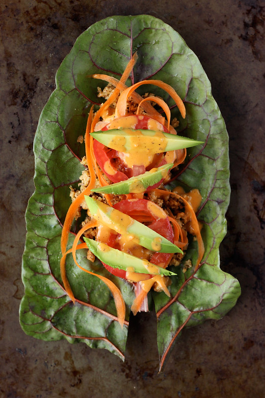 "Swiss Chard Wraps with Raw Walnut Taco ""Meat"" (gluten-free and vegan)"