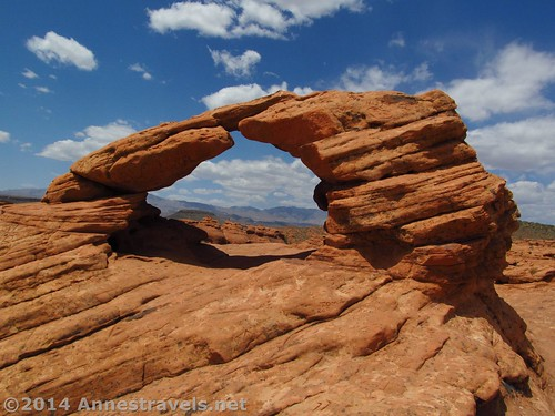 One of the arches in Pioneer Park in St. George, Utah - to the right are rock formations, to the left, slot canyons.