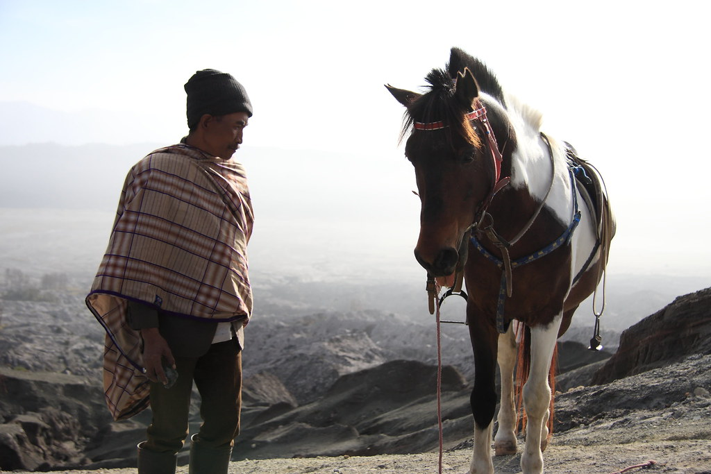A Javanese Man & His Horse At Mount Bromo