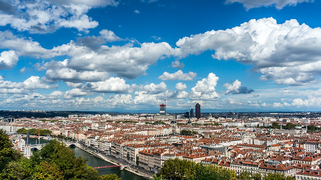 Lyon, France, view from Saint-Just : Jardin des curiosités