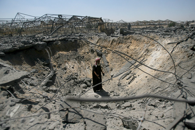 Destroyed greenhouse in Gaza