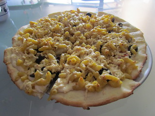 Mac and Yeese Pizza with pineapple and olives from Pizza Pi