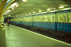 RATP Paris - articulated Metro train at Charles Michels (Ligne 10) in 1982