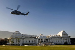 U.S. Helicopter Lands Beside Haiti's Crumbling Presidential Palace | by United Nations Photo