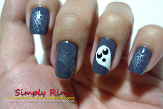 Nail Art Halloween Ghost 04 | by Simply Rins