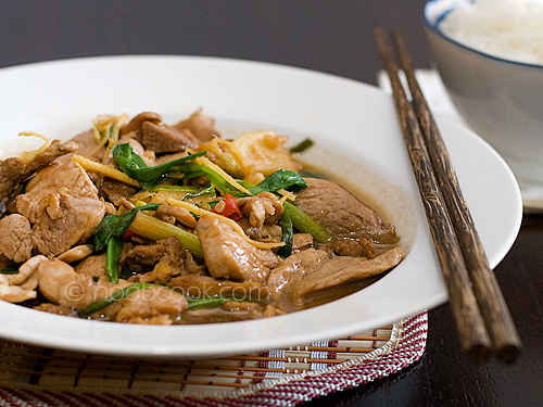 stir-fry pork with ginger and scallion | by wiffygal