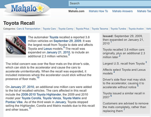 Toyota Recall On Mahalo | by search-engine-land