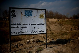 HALO Trust sign warning of landmine clearance in Herat, Afghanistan | by DFID - UK Department for International Development