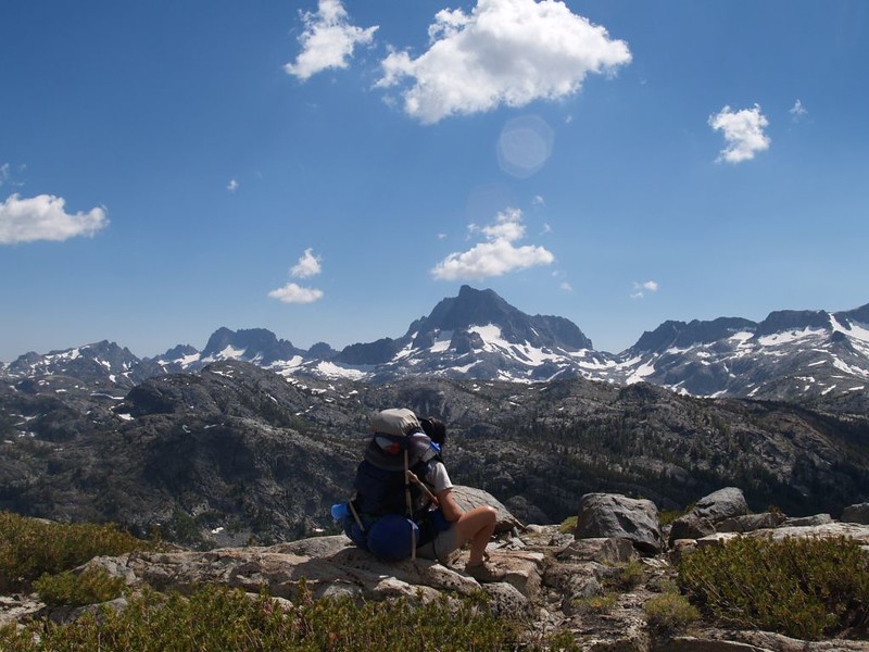 Vicki contemplating the High Sierra from Peak 10462