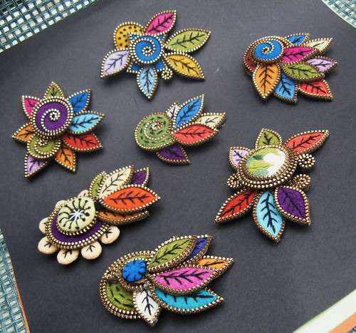 7 finished leaf brooches... whew!!! | by woolly  fabulous