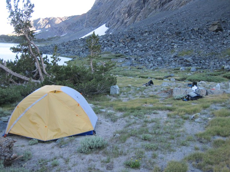 Our tent and campsite at the Alger Lakes