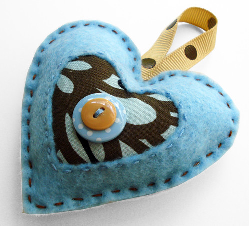 Felt Heart Ornament-Blue and Chocolate | by myaphrodite/poor robin