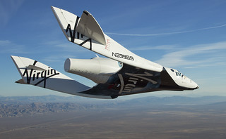 VSS Enterprise glides fantastically back towards Mojave Space Port. Photo by Mark Greenberg | by Virgin Galactic