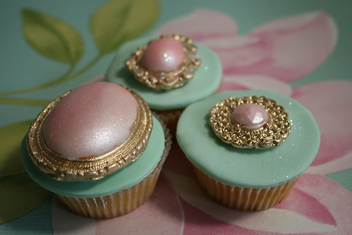 Bling cupcakes pink brooches | by elizabethscakeemporium