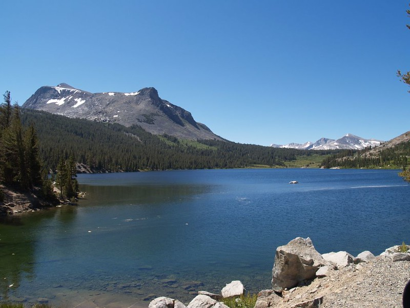 Ellery Lake above Lee Vining, with the Dana Plateau and Mount Conness in the far distance