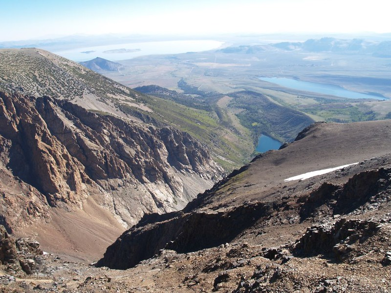Glacial Moraine down below on Parker Creek on the east side below Parker Pass, with Mono Lake in the distance