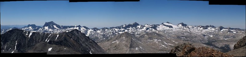 Stitched panorama of the view south and west from the Koip Peak Summit