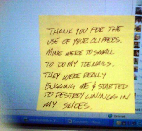 Sorry, I thought those were the *shared* office toenail clippers! | by passiveaggressivenotes