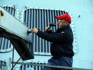 USS Fitzgerald Sailor repairs sliding padeye. | by Official U.S. Navy Imagery