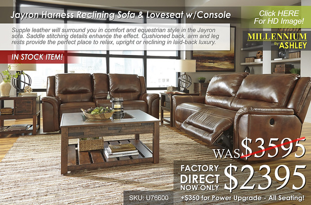 NEW - Jayron Harness Reclining Sofa & Loveseat w Console safety