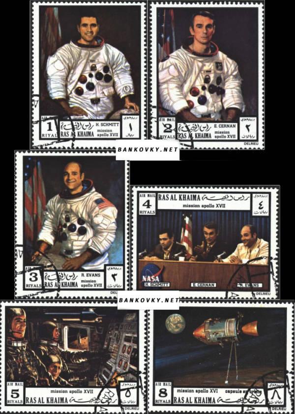 Známky Ras Al Khaimah 1972 Apollo 17, razítkovaná séria