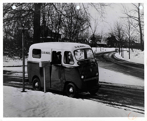 Photograph of mail van in the snow | by Smithsonian Institution