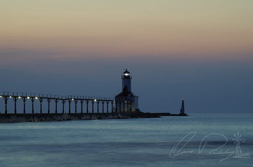 Dusk Michigan City East Light