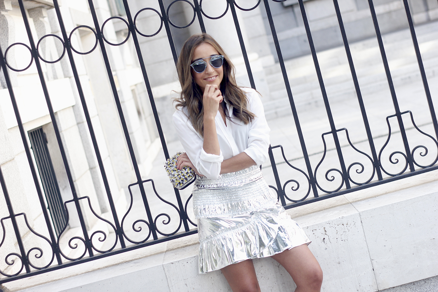 Isabel Marant Metallic Skirt white shirt nude sandals dior so real sunnies outfit style fashion17