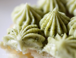Close Up! Matcha Frosting on Coconut-Grapefruit Cupcakes | by Elissa @ 17 and Baking