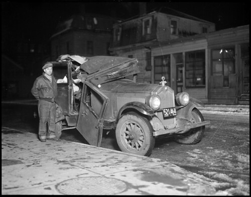 Wrecked auto | by Boston Public Library