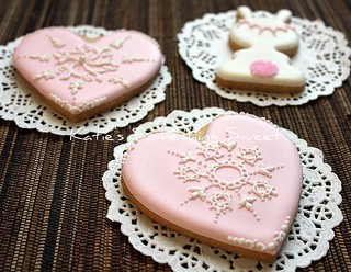 Pink Lace Heart Cookies | by Katie's Something Sweet