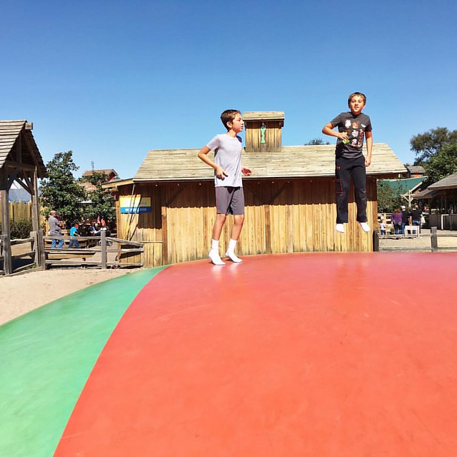 The boys on the big kid jump pillow! #bostinelosbros