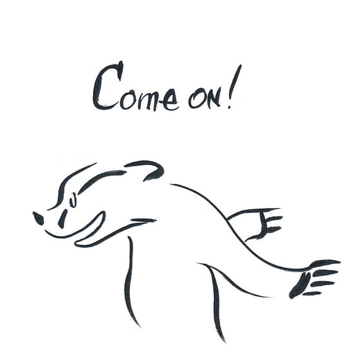 InkTober Day Six - Come on! #inktober2016 #inktober #badger #badgerlog #comeon #parenting #inktoberday6