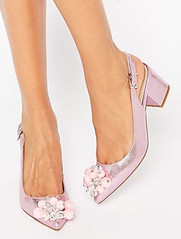 ASOS pink slingback block heel embellished shoes