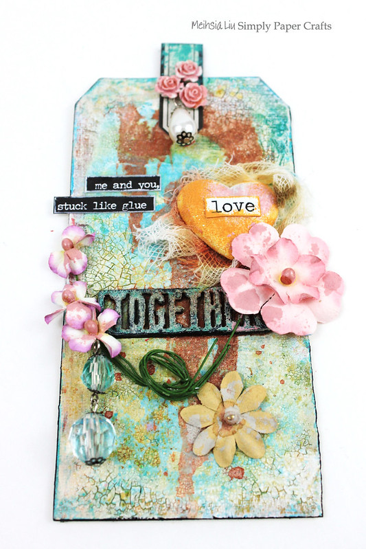 Meihsia Liu Simply Paper Crafts Mixed Media Tag Love 1