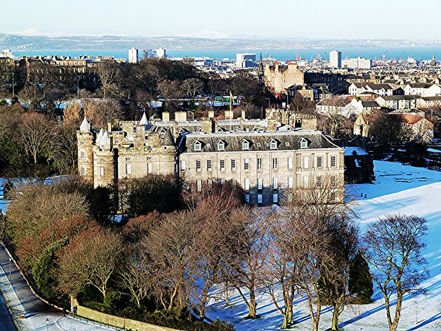 Landscape view of Palace of Holyroodhouse, Edinburgh, Scotland.