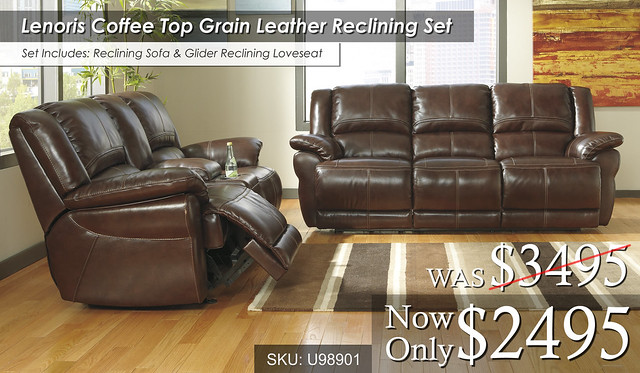 Lenoir Coffee Top Grain Leather Reclining Set U98901-87-43